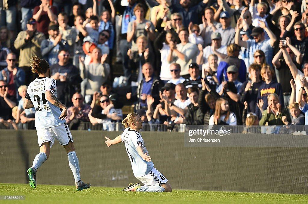 Action from the Danish Alka Superliga match between SonderjyskE and Esbjerg fB at Sydbank Park on May 06, 2016 in Haderslev, Denmark.