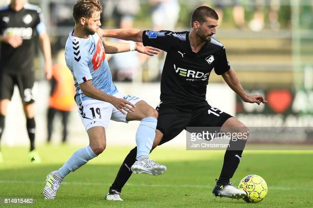 Action from the Danish Alka Superliga match between SonderjyskE and Randers FC at Sydbank Park on July 15 2017 in Haderslev Denmark
