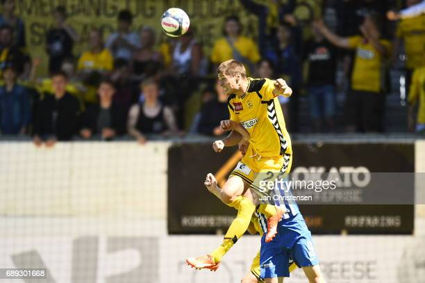 Action from the Danish Alka Superliga Playoff match between AC Horsens and Esbjerg fB at Casa Arena Horsens on May 28 2017 in Horsens Denmark