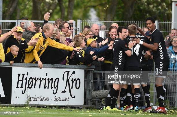 Action from the Danish Alka Superliga Playoff match between Vendsyssel FF and AC Horsens at Bredband Nord Arena on June 4 2017 in Hjorring Denmark