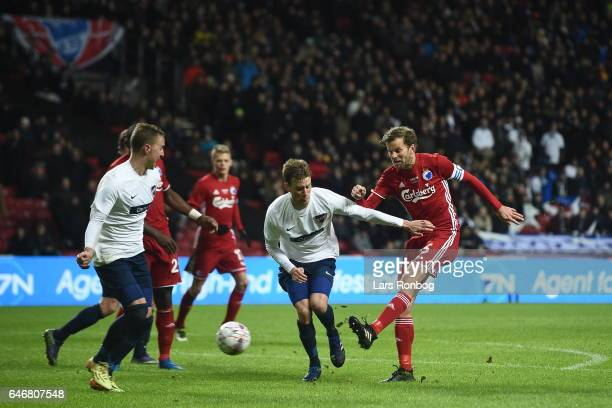 Action from the Danish Cup DBU Pokalen match match between B93 and FC Copenhagen at Telia Parken Stadium on March 1 2017 in Copenhagen Denmark