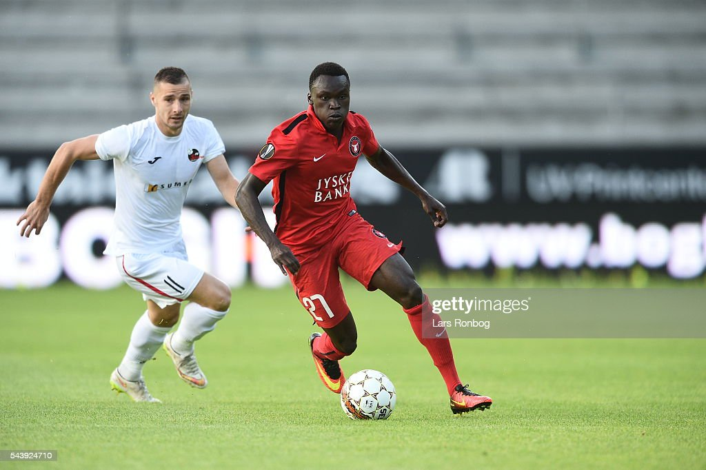 Action from the Europa League Qualifier match between FC Midtjylland and FK Suduva at MCH Arena on June 30, 2016 in Herning, Denmark.