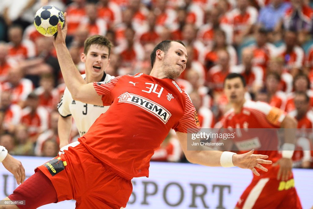 Action from the European Championship Croatia 2018 Playoff match between Denmark and Latvia at Sydbank Arena on June 18, 2017 in Kolding, Denmark.
