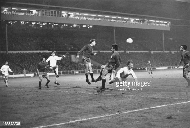 Action from the European Championships QuarterFinal 1st Leg between England and Spain at Wembley London 3rd April 1968 England won the match 10 with...
