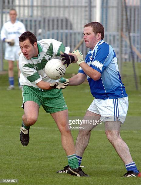 Action from the Irish GAA Football Championship semifinal match between Barndarrig and Baltinglass at the GAA grounds in Aughrim County Wicklow...