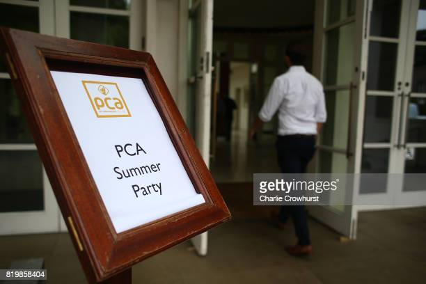 Action from the PCA Summer Garden Party cricket match between England masters and International Masters at The Hurlingham Club on July 20 2017 in...