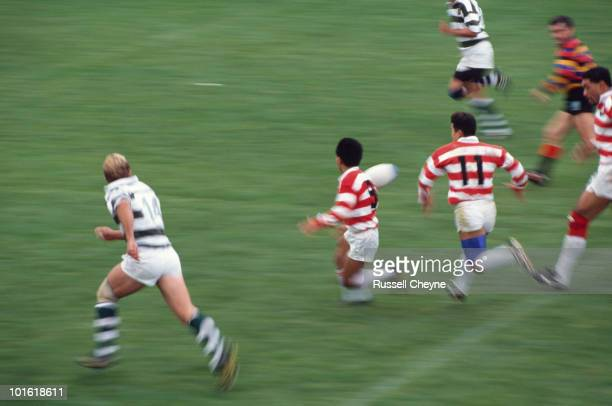 Action from the pool stage match between Japan and Zimbabwe during the 1991 Rugby World Cup at the Ravenhill Stadium Belfast 14th October 1991 Masami...