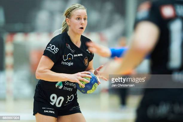 Action from the Primo Tours Ligaen 1 Semifinal match between FC Midtjylland and Copenhagen Handball in IBF Arena on April 24 2017 in Ikast Denmark