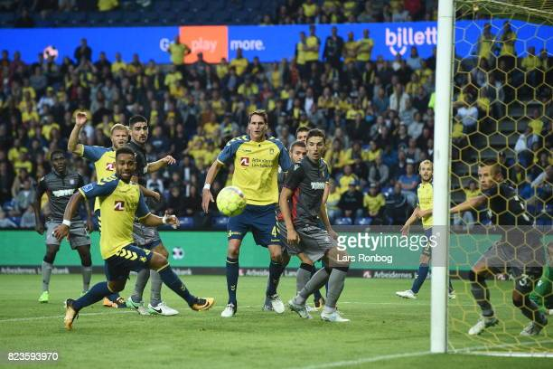 Action from the UEFA Europa League Qual match between Brondby IF and Hajduk Split at Brondby Stadion on July 27 2017 in Brondby Denmark