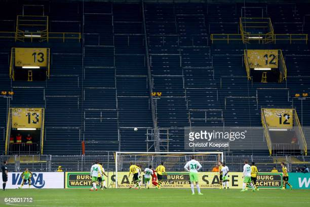 Action in front of the empty south tribune during the Bundesliga match between Borussia Dortmund and VfL Wolfsburg at Signal Iduna Park on February...