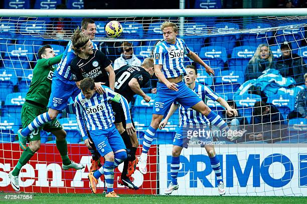 Action in front of the goal of Esbjerg fB during the Danish Alka Superliga match between Esbjerg FB and Silkeborg IF at Blue Water Arena on May 09...