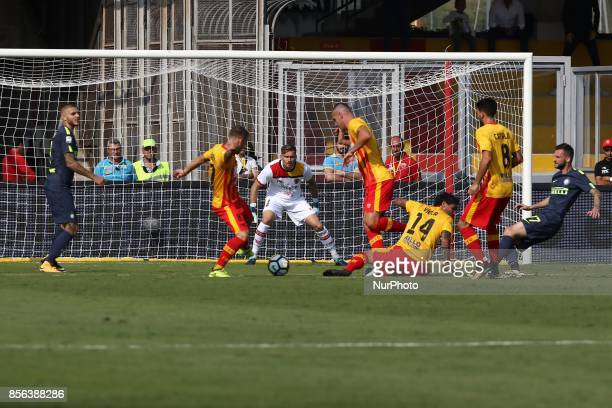 action of FC Inter kick in the door of Marcelo Brozovic of FC Inter during Serie A TIM match between Benevento Calcio v Football Club Inter Stadium...