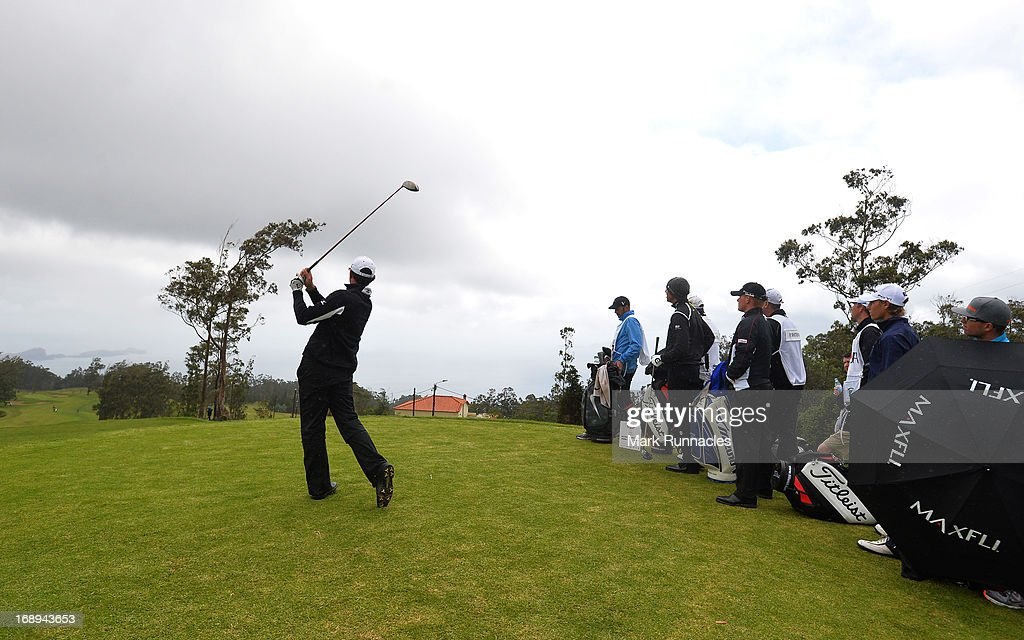Action on the congested 11th tee after the rain delay during Day Two of the Madeira Islands Open - Portugal - BPI at Club de Golf do Santo da Serra on May 17, 2013 in Funchal, Madeira, Portugal.