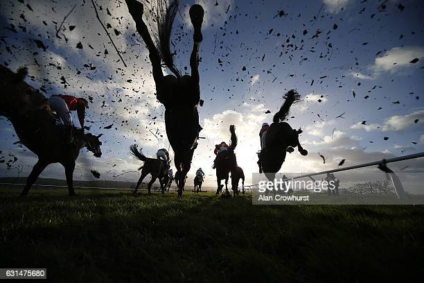 Action over fences at Taunton Racecourse on January 11 2017 in Taunton England