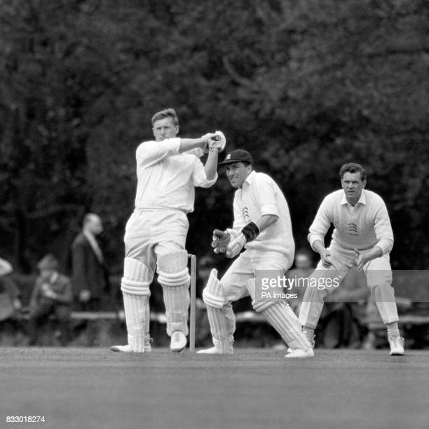 A action picture of hard hitting Peter Marner the Lanchashire right hand batsman who made his debut for the Northern County at the age of only 16 in...