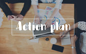 Action Plan message on the device works the table background correspondence Customer Support Concept
