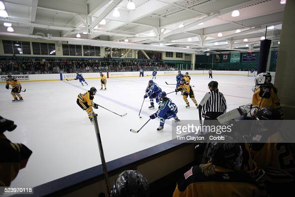 Action viewed from the Boston Pride bench during the Connecticut Whale vs Boston Pride National Women's Hockey League game at Chelsea Piers Stamford...