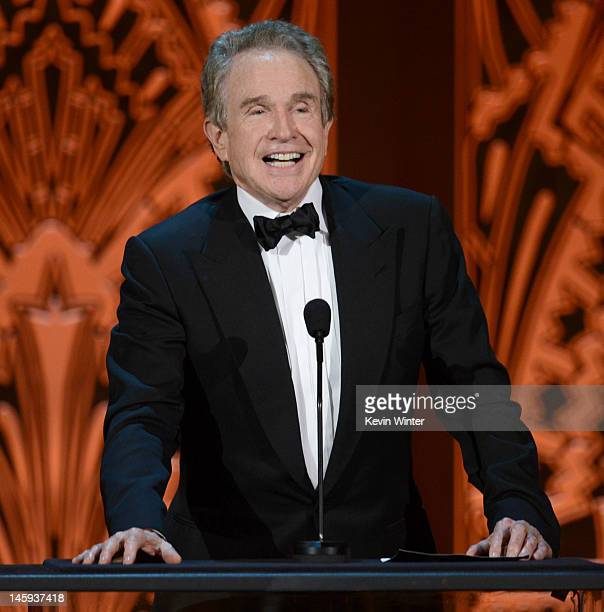 Actir Warren Beatty speaks onstage at the 40th AFI Life Achievement Award honoring Shirley MacLaine held at Sony Pictures Studios on June 7 2012 in...