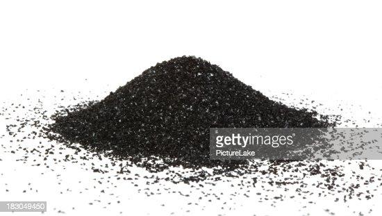 Activated carbon powder mound