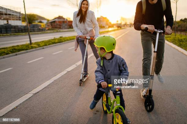 Active family on wheels
