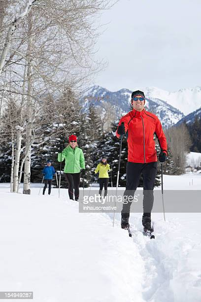 Active Group of Back Country Nordic Skiers