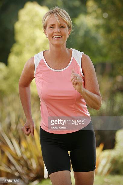 Active mature woman running