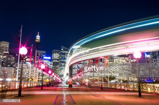 Active night scene of Sydney central from Pyrmont : Stock Photo