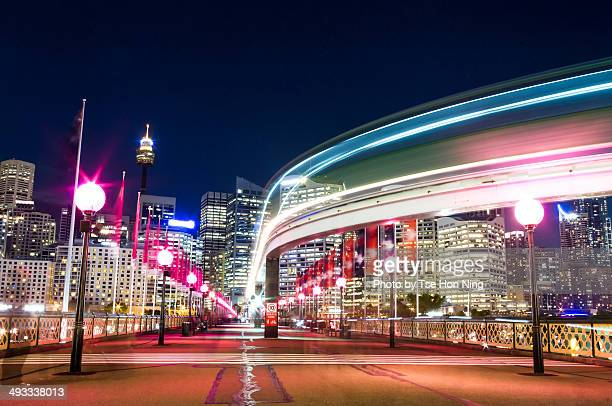 Active night scene of Sydney central from Pyrmont