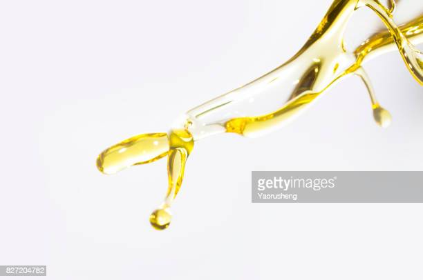 Active oil splash in white background