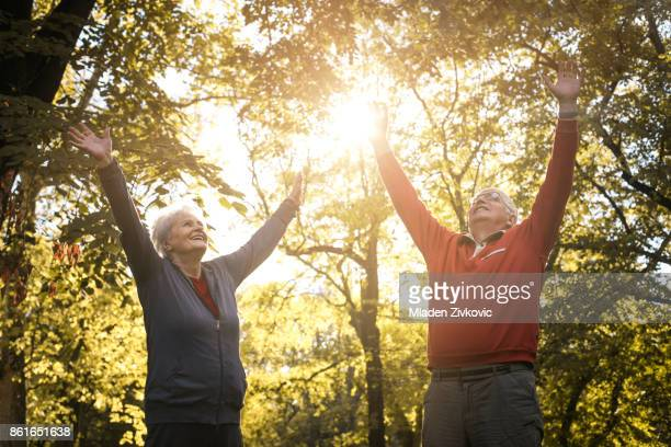 Active senior couple content in park with hands up.
