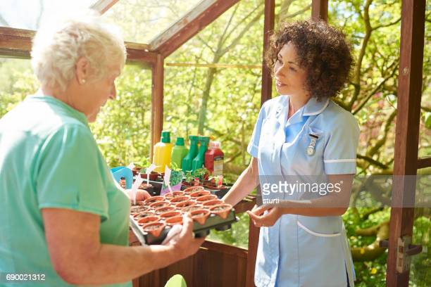 active senior with care visit