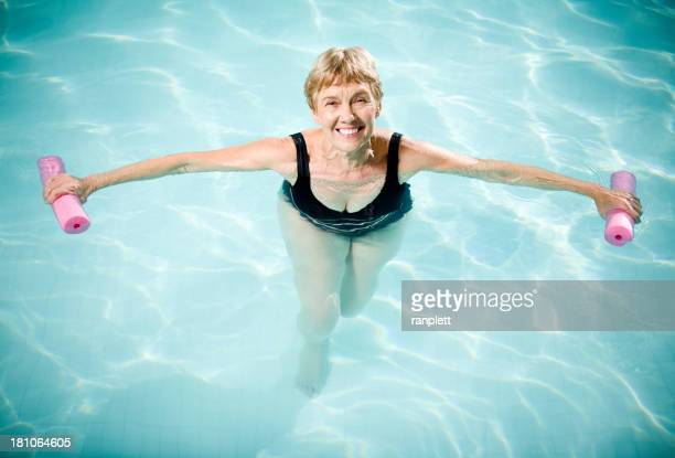 Active Senior Woman Aquasizing