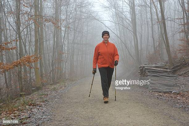 Aktive senior Frau Nordic Walking, im winter forest