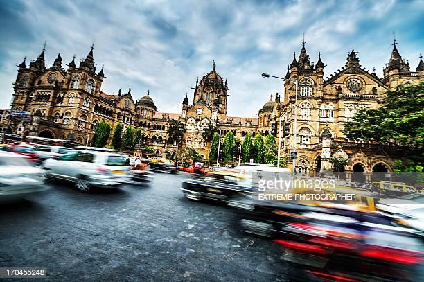 Active Victoria rail station in Mumbai