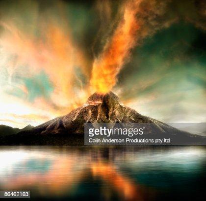 Active volcano erupting