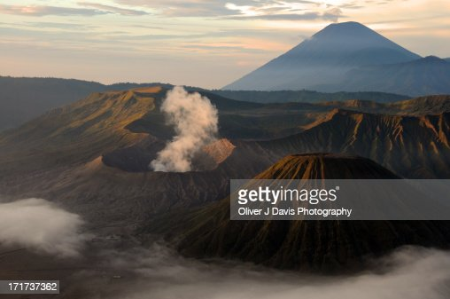 Active Volcano Landscape with Crater, Smoke, Cloud : Stock Photo