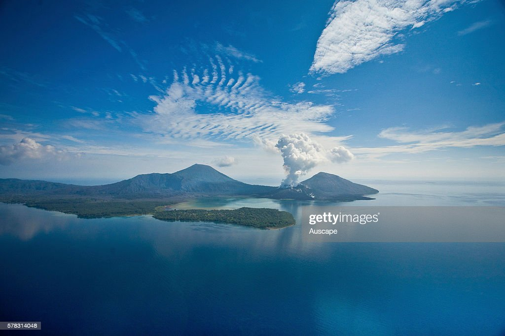Active volcano Tuvurvur on the eastern rim of the Rabaul caldera It rumbles and erupts frequently Near Rabaul East New Britain Papua New Guinea