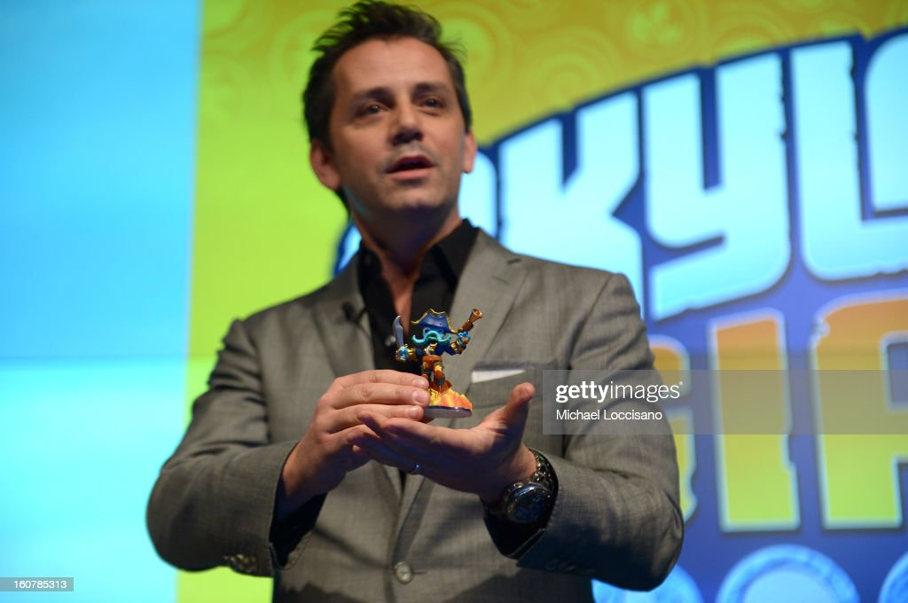 Activision Publishing, Inc. Eric Hirshberg speaks at Activision Reveals Innovative Skylanders SWAP Force at Toy Fair Event at NASDAQ MarketSite on February 5, 2013 in New York City.