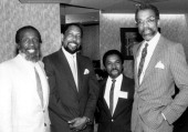 Activist and comedian Dick Gregory BRE Chairman Sidney Miller Jr Patrick Manuel operations manager KXZZ Radio Ivan Burrell VicePresident of Black...