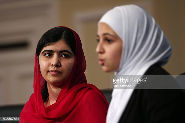 Activist and Nobel Peace Prize winner Malala Yousafzai and 17yearold Syrian refugee Mazoun Almellehan during a press conference following the first...