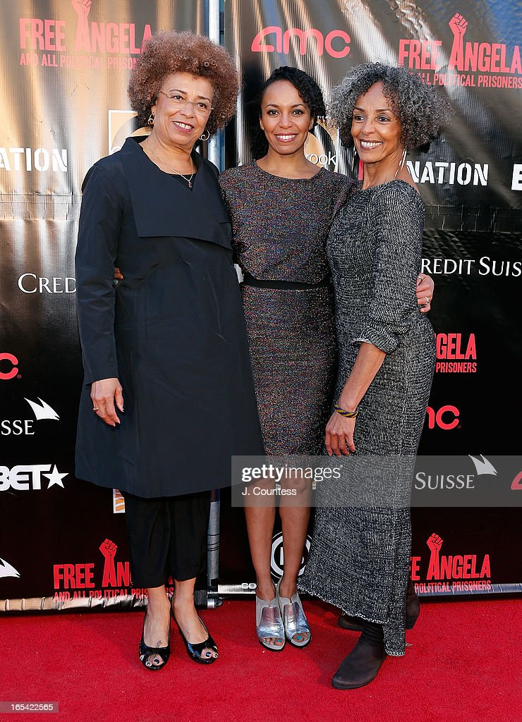 Activist <a gi-track='captionPersonalityLinkClicked' href=/galleries/search?phrase=Angela+Davis+-+Activist&family=editorial&specificpeople=233774 ng-click='$event.stopPropagation()'>Angela Davis</a>, Eisa Davis and Fania Davis attend the 'Free Angela and All Political Prisoners' New York Premiere at The Schomburg Center for Research in Black Culture on April 3, 2013 in New York City.