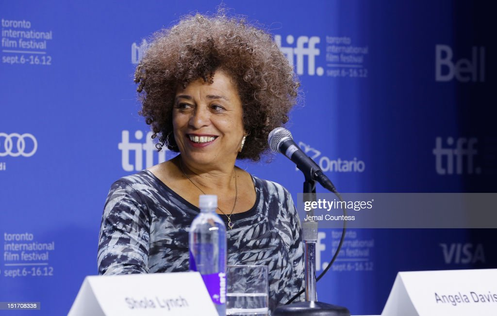 Activist <a gi-track='captionPersonalityLinkClicked' href=/galleries/search?phrase=Angela+Davis+-+Activist&family=editorial&specificpeople=233774 ng-click='$event.stopPropagation()'>Angela Davis</a> speaks onstage at 'Free Angela & All Political Prisoners' Press Conference during the 2012 Toronto International Film Festival at TIFF Bell Lightbox on September 10, 2012 in Toronto, Canada.