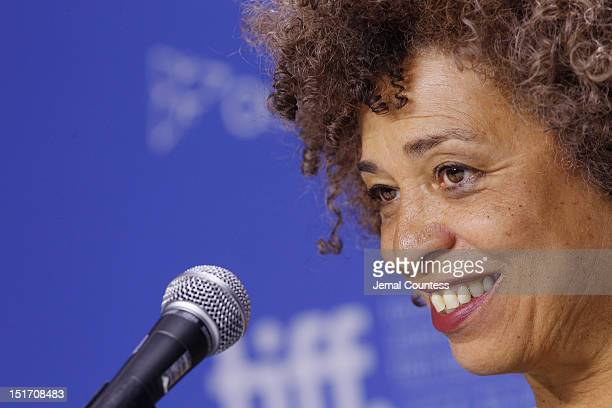 Activist Angela Davis speaks onstage at 'Free Angela All Political Prisoners' Press Conference during the 2012 Toronto International Film Festival at...