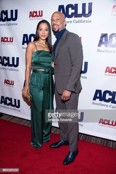 Activist Angela Rye and hiphop artist Common arrive at ACLU SoCal's Annual Bill of Rights Dinner at the Beverly Wilshire Four Seasons Hotel on...