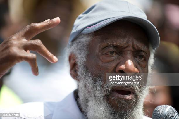 Activist Dick Gregory spoke at a 'Justice for Trayvon' vigil sponsored by The National Action Network in front of the E Barrett Prettyman Federal...