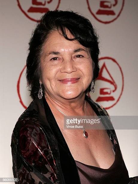 Activist Dolores Huerta arrives at the 2005 Latin Recording Academy Person of the Year tribute dinner at the Regent Beverly Wilshire Hotel on...