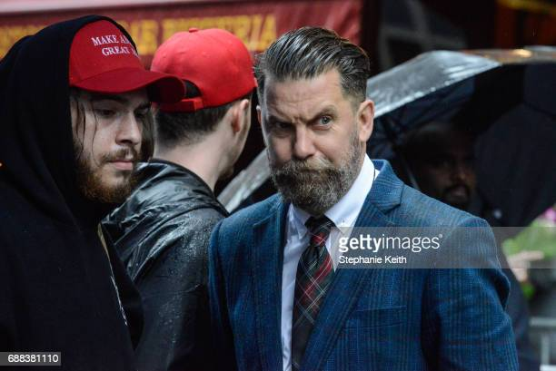 Activist Gavin McInnes takes part in an Alt Right protest of Muslim activist Linda Sarsour on April 25 2017 in New York City