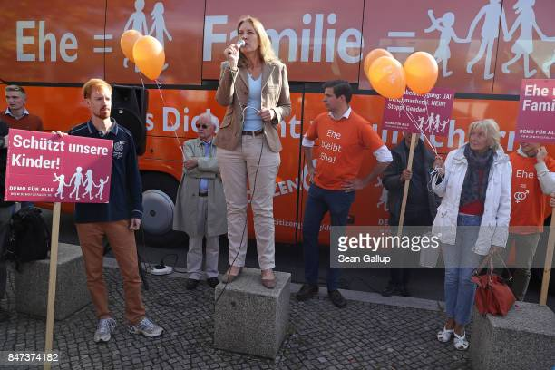 Activist Hedwig von Beverfoerde speaks at a gathering of the group 'Demo fuer Alle' who are against gay marriage near the Chancellery on September 15...