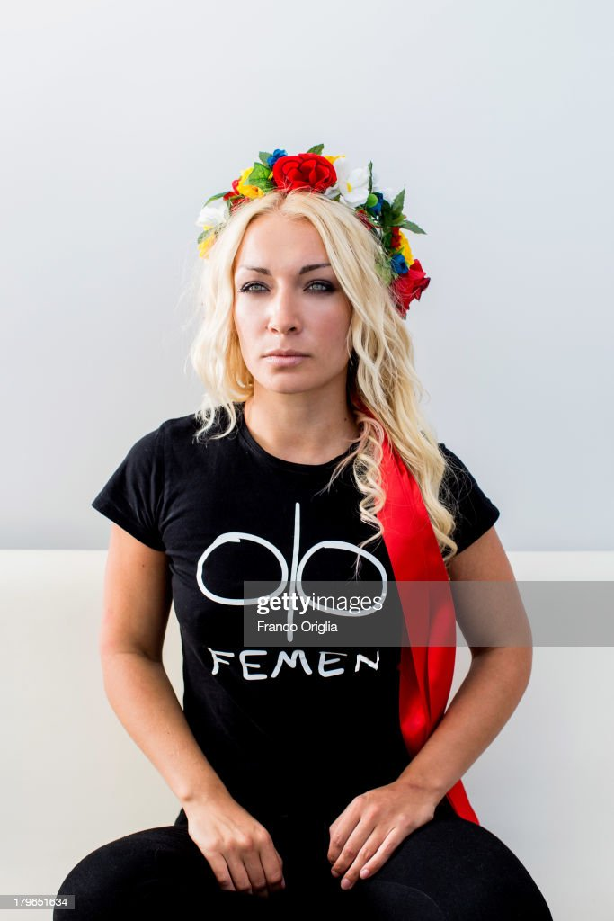 FEMEN activist <a gi-track='captionPersonalityLinkClicked' href=/galleries/search?phrase=Inna+Shevchenko&family=editorial&specificpeople=7249613 ng-click='$event.stopPropagation()'>Inna Shevchenko</a> poses during the 'Femen' Portrait Session for the film 'Ukraine Is Not A Brothel' as part of the 70th Venice International Film Festival on September 4, 2013 in Venice, Italy.