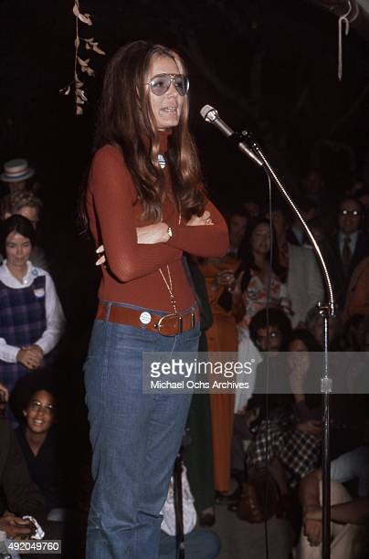 Activist journalist and leader of the feminist movement Gloria Steinem addresses the crowd at a fundraiser and rally for California State Senate...